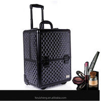 Black dazzling wheeled travel trolley cosmetic case