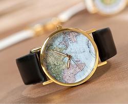 slim women leather watch geneva leather strap women wristwatch ladies watches fashion vintage world map face leather band watch