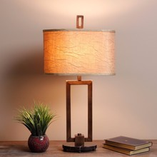 7.9-24 Simple 3-way Bronze finish Table Lamp with brown linen lamp shade