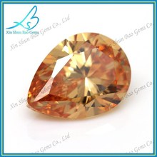 Loose cz supplier champagne pear cut cubic zirconia aaa