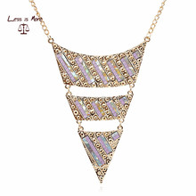 2016 New spring rainbow glitter gold necklace,trangle necklace