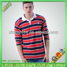 2014 fashion stripe men's long sleeve polo t-shirts
