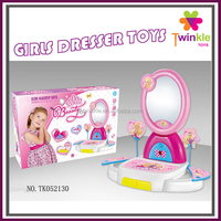 Girls toys plastic toy makeup dressing table with mirror and IC childs dressing table toys