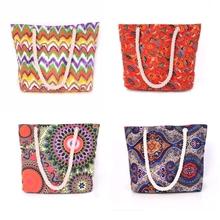 New design beach tote bag colorful wave stripe Canvas beach bag 2015
