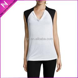 2015 fashional White And Black Knit 'Enya' Cowl Neck Top