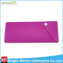 Plastic pencil case with button/ sliding pencil box for schoolkids/student