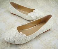 Handmade Butterfly Lace Pearl Bridal Shoes Round Toe Flat Wedding Shoes /Size 4.5-10