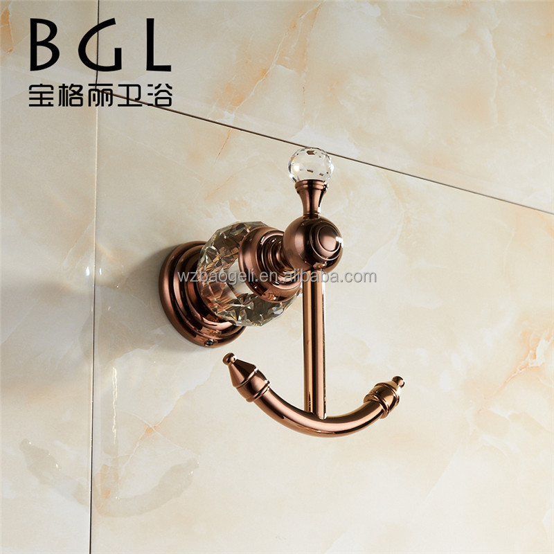 2015news bathroom accessories brass and crystal double for Rose gold bathroom set