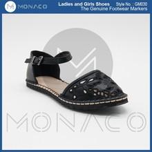 Ladies fashion black lace upper ballerina shoes, ladies flat summer shoes