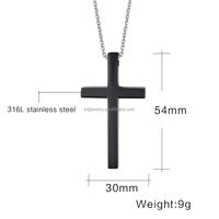 Stainless Steel Cross Pendant In Black Matt Design