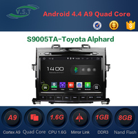 Android 4.4 dual-core car dvd player with BT/WIFI/RADIO/GPS for Toyota Alphard