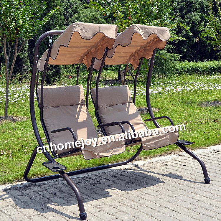 Two Seat Patio Adult Outdoor Swing Balcony Swing Chair Canopy Reclining Swing