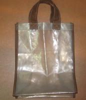 Fabric handle clear lady handbag pvc/vinyl tote purse