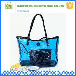 Factory price clear pvc waterproof tote bag with a removeable small bag
