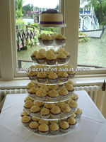 high quality 7 tiers elegant design clear detachable acrylic cupcake stand for wedding factory