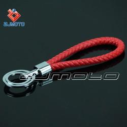ZJMOTO Fashion RED Leather Strap Keyring Keychain Key Chain Ring Key Fob for men