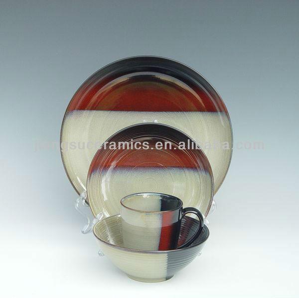 Из каменной керамики черный, бежевый, красный градиент цвета Corelle посуда набор