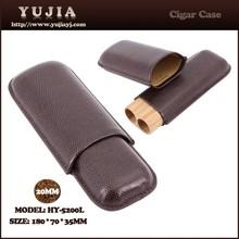 Durable Leather cigar case cedar wood round wood tube cigar case supplier
