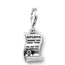 Wholesale Cheap Antique Silver Plated Lobster Clasp Dipolma Charms For Graduation Gift