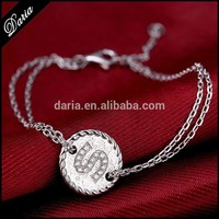 DLY Guangzhou Market 925 Sterling silver Bracelets jewelry Fashion All Initial letter Bracelet