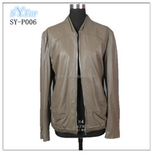 western popular fashion man's genuine lamb sheepskin leather jackets coat with long sleeve and zipper