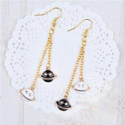 New Fashion Gold Plated Planet Saturn Star Pendants Enamel Planet Saturn Latest Fashion Design Hanging Earrings
