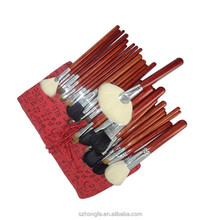 Competitive price 30 pcs make up brush set with red pu bag