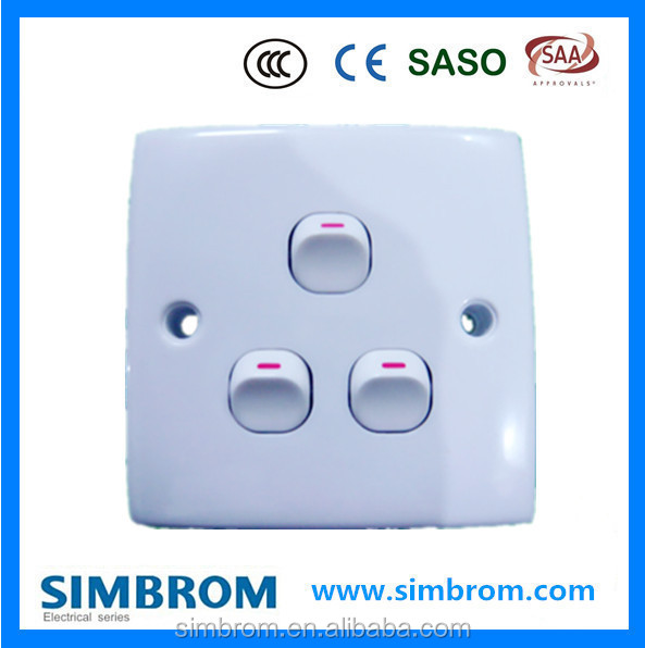 Low Price Electric Abs Wall Switch,Power Switch Three Gang One Way ...