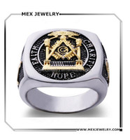 316 Stainless steel masonic signet Faith and Charity Hope master mason ring jewelry with gold plated compass & straight scale