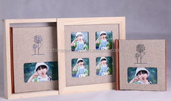 fancy wooden cover with yellow color ,china factory children album design