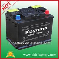 Economic DIN standard 12V55AH auto battery 12v car battery With high quality