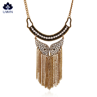 2016 New Arrival Sweater Necklace Metal Angel Wings Pendant With Beautiful Tassel Necklace With Rhinestone Wholesale Price