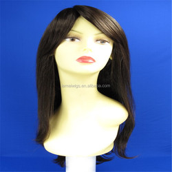 black color long natural straight machine made wig, synthetic lace wig