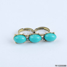 New Arrival Antique Bronze Two Finger Ring, Turquoise Oval Nigeria Bead Ring,Turquoise Fringe Ring