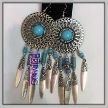 Silver Tone Dreamcatcher Feather Beads Findings eardrop Earrings