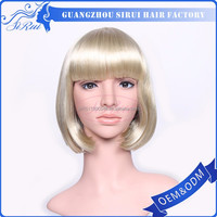 Wholesale nature synthetic wig hair imports, hair system, short cut fashion chinese bang wigs