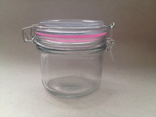 wholesale clip glass jar and 200ml honey glass jar with glass lid