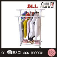 Aluminum alloy double pole retractable foldable cloth hanger stand