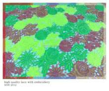100% Polyester chemical water soluble green colour french embroidery lace fabric