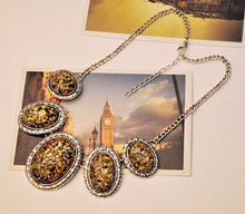 Leopard oval amber statement fashion necklace