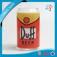 brand duff beer custom beer glass with logo promotional beer can shaped glass