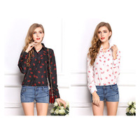 Printing size loose chiffon shirt collar Blouse Shirt bottoming shirt SX0313 dropshipping