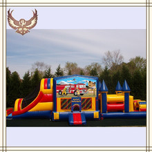 Fire truck obstacle course water slide for sale fire truck inflatable obstacle course