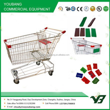 Hot sell good cheap 150 liter zinc with powder Asian type shopping trolley cart with free logo/ supermarket trolley(YB-A03)