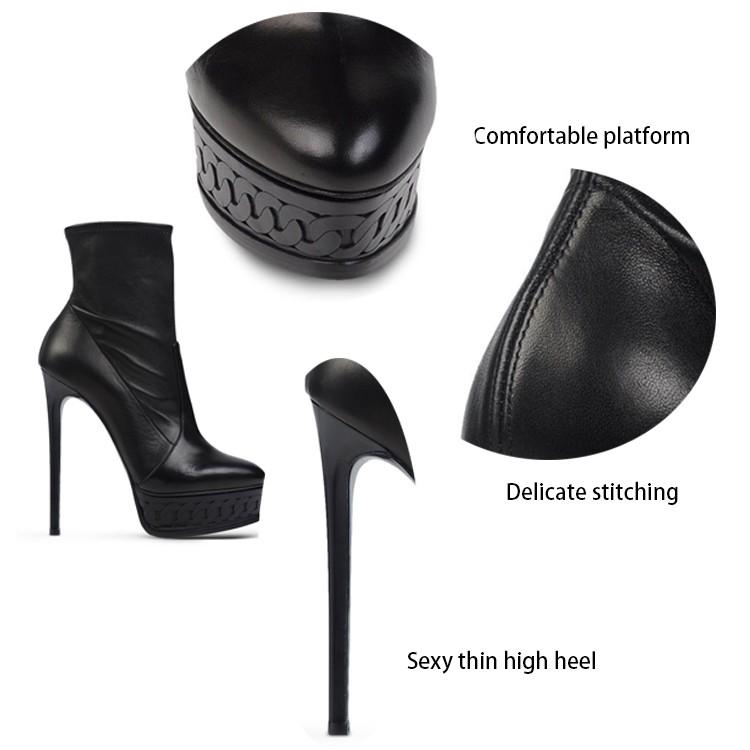 2016 OEM customize popular stylish elegant top model new design high quality sheepskin high heel ankle  boots