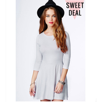 Ladies Rayon Long Sleeve Skater Dress Grey