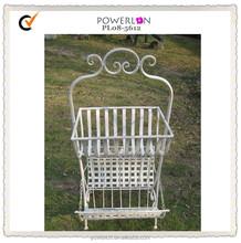 POWERLON Wrought iron antique white metal basket with magazine rack outdoor furniture