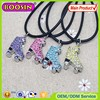 2015 Hot sale zinc alloy roller skate charm necklace rainbow rhinestone charm necklace with rope #8757