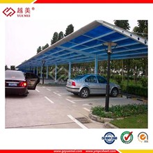 Grade A 50 micron UV-coated Polycarbonate roofing for carport