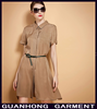 OEM Service Dongguan Garment Manufacturer 2015 Latest Fashion Elegant Khaki Office Lady Dress Plus Size